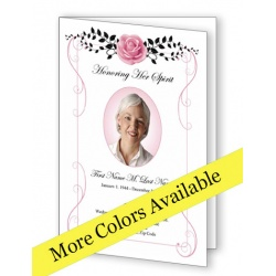 Beloved Vintage Rose Funeral Program Template