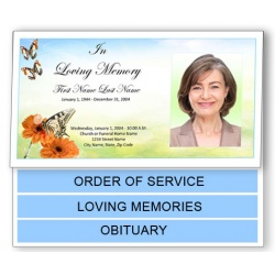Beautiful Butterfly Funeral Program Template - Bottom Graduated Fold