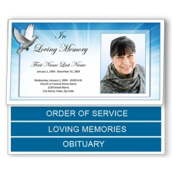 Celestial Dove Funeral Program Template - Bottom Graduated Fold