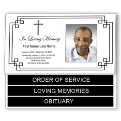 Classic Cross Funeral Program Template - Bottom Graduated Fold
