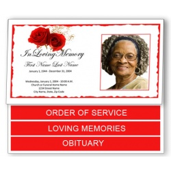 Red Rose Funeral Program Template - Bottom Graduated Fold