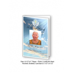 Dove Cross Funeral Card Template