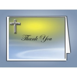 Blue Eternal Cross Thank You Card Funeral Temeplate