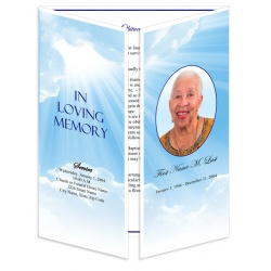 Blue Sky Gatefold Funeral Program Template