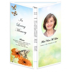 Beautiful Butterfly Gatefold Funeral Program Template