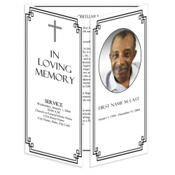 Classic Cross Gatefold Funeral Program Template