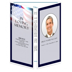 Patriotic (US) Gatefold Funeral Program Template