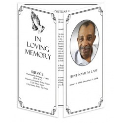 Praying Hands Gatefold Funeral Program Template