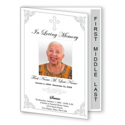 Grey Ornate Cross Funeral Program Template Graduate Fold
