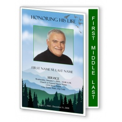 Blue Ridge Funeral Program Template - Graduated Fold