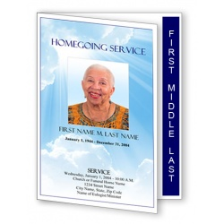Blue Sky Funeral Program Template - Graduated Fold
