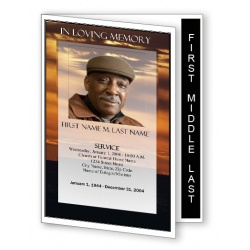 Brown Sunset Funeral Program Template - Graduated Fold
