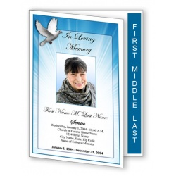 Celestial Dove Funeral Program Template - Graduated Fold