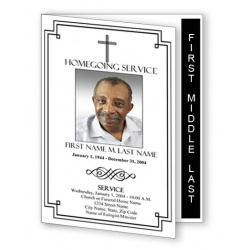 Classic Cross Funeral Program Template - Graduated Fold