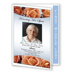 Memorial Roses Funeral Program Template - Graduated Fold