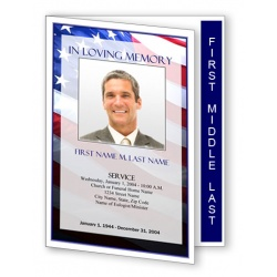 Patriotic (US) Funeral Program Template - Graduated Fold
