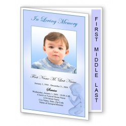 Precious Blue Angel Funeral Program Template - Graduated Fold