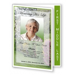 Spring Garden Funeral Program Template - Graduated Fold