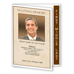 Tan Simplicity Funeral Program Template - Graduated Fold