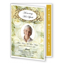 Cherished White Roses Funeral Program Template -- Graduated Fold