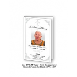 Grey Ornate Cross Funeral Card Template