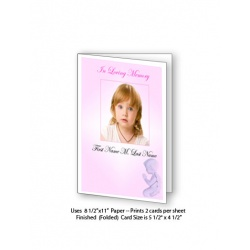 Precious Pink Angel Funeral Card Template
