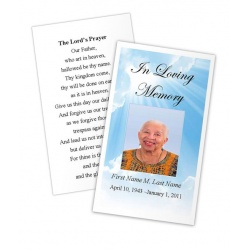 Blue Sky Memorial Prayer Card Template