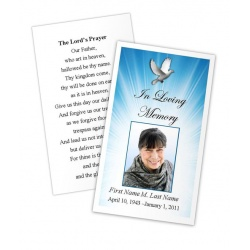 Celestial Dove Memorial Prayer Card Template