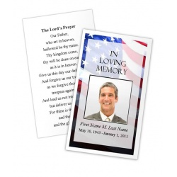 Patriotic US Memorial Prayer Card Template