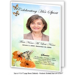 Beautiful Butterfly Large Funeral Program Template