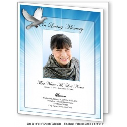 Celestial Dove Large Funeral Program Template