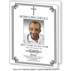 Classic Cross Large Funeral Program Template