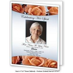 Memorial Roses Large Funeral Program Template