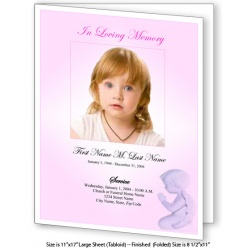 Precious Pink Angel Large Funeral Program Template
