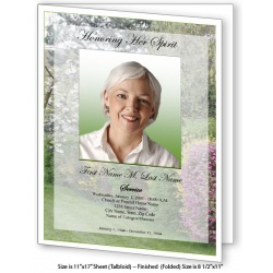 Spring Garden Large Funeral Program Template