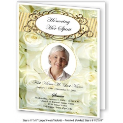 Cherished White Roses Large Funeral Program Template