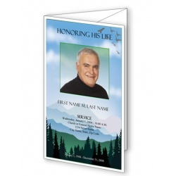 Blue Ridge Trifold Funeral Program Template