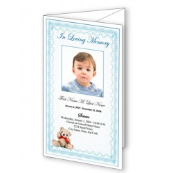 Blue Teddy Bear Trifold Funeral Program Template