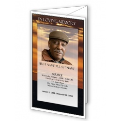Brown Sunset Trifold Funeral Program Template