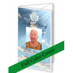 Dove Cross Trifold Funeral Program Template