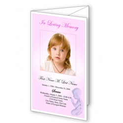 Precious Pink Angel Trifold Funeral Program Template