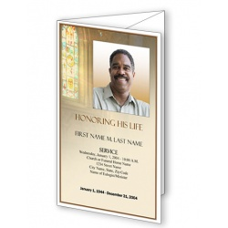 Shine Brightly Trifold Funeral Program Template