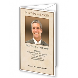 Tan Simplicity Trifold Funeral Program Template