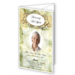 Cherished White Roses Trifold Funeral Program Template