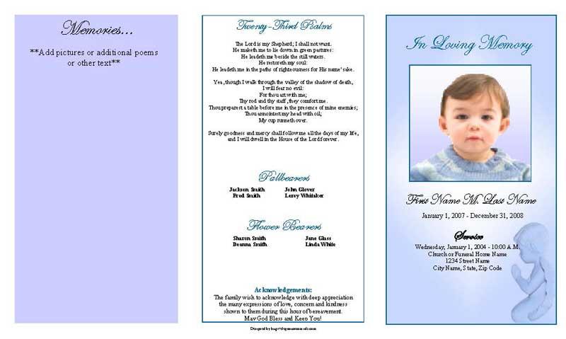Precious Blue Angel Trifold Funeral Program Template Elegant Memorials