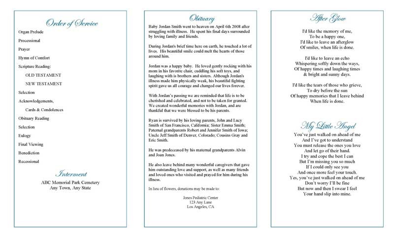 Precious Blue Angel Trifold Funeral Program Template