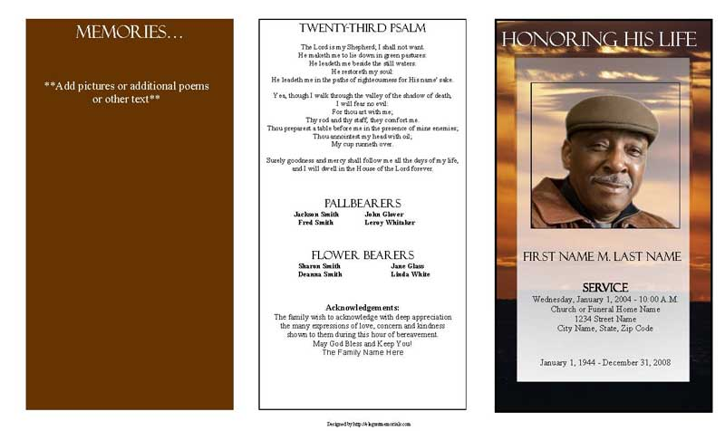 Brown Sunset Trifold Funeral Program Template Apple Pages