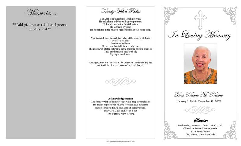 Grey Ornate Cross Trifold Funeral Program Template Apple Pages