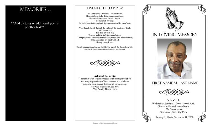 Praying Hands Trifold Funeral Program Template MS Publisher