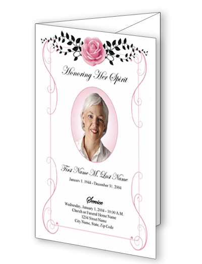 Beloved Vintage Rose Trifold Funeral Program Template Elegant